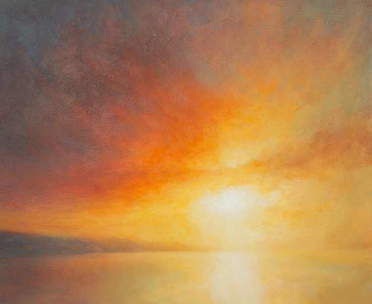 Sunset from Fisher Street, Broughty Ferry - Oil painting of sunset