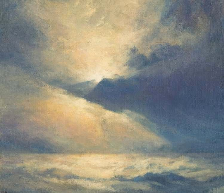 Oil painting of sky and clouds