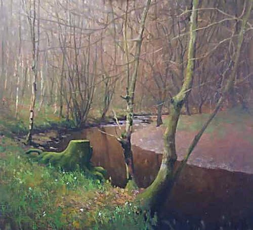Trees and  River - oil landscape painting