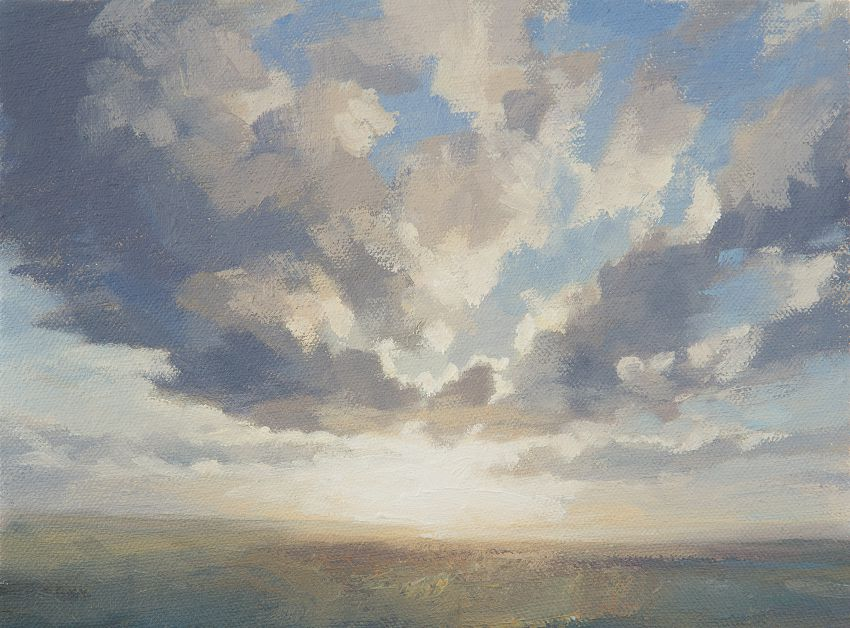 April Cloud  Study  - Oil painting of sky and cloud. Small outdoor oil painting