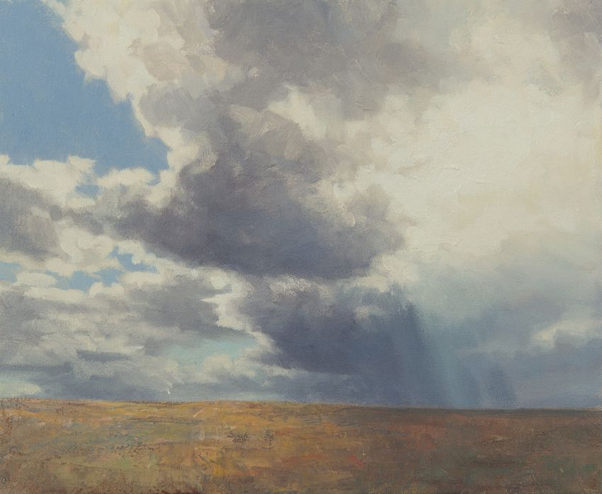 August - Landscape painting of clouds and sky, Oil on Canvas