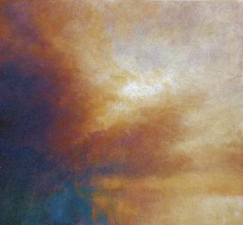 Contemporary oil painting of colour and light in sky,  Blue and Gold