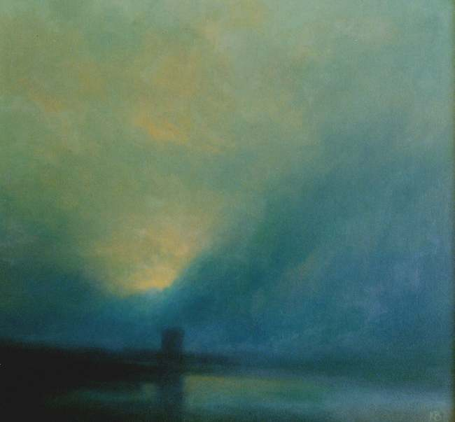 Minimalist landscape painting broughty ferry castle dawn for Minimal art gregory battcock