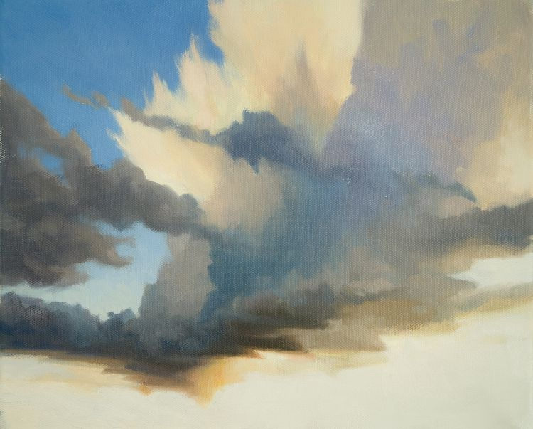 Oil painting of cumulus clouds forming