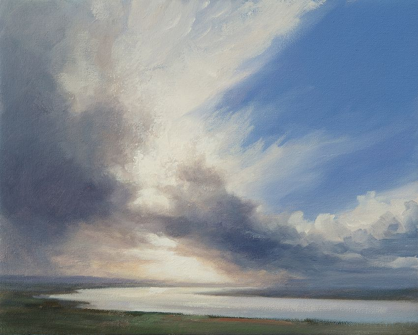 Contemporary oil painting of clouds and light near Newburgh over the River Tay