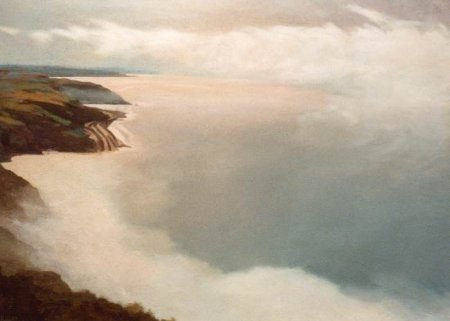Cockburnspath, Seascape painting of Sea from Cliffs Oil on Canvas, Landscape Painting