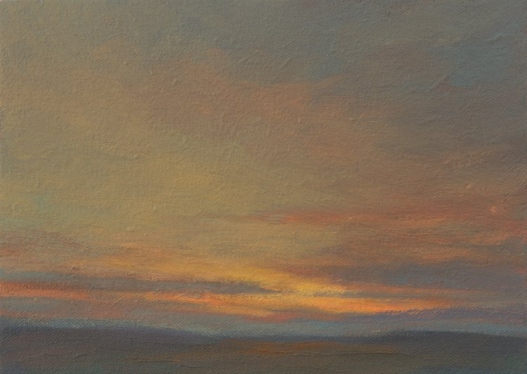 Colour Study - Evening Light. Small oil painting of sunset light