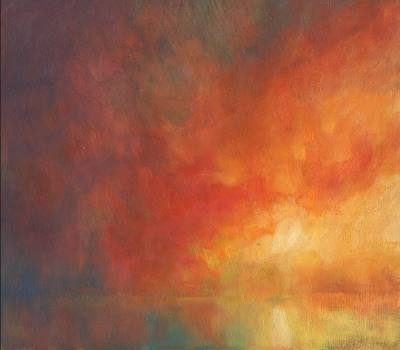 Red sunset colour study - Oil painting on gesso - Discovery Dawn