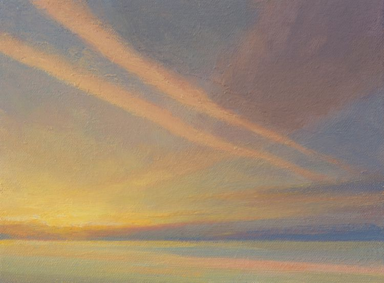 Contrails - Small oil painting of contrails in the sky at dawn