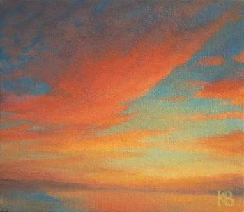 Modern Art Landscape - colours of evening sky