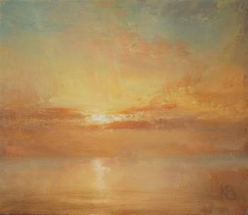 Small oil painting of dawn at sea