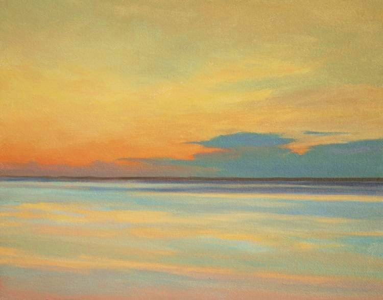 Dawn at Tentsmuir -  painting of Dawn sky