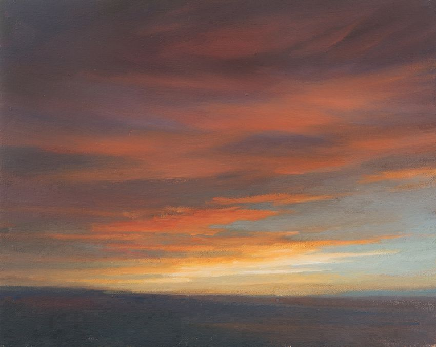 Oil painting of red and yellow sunset. Evening Sky Study 2