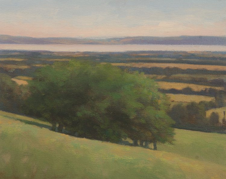 Oil painting of trees on Dron Hill