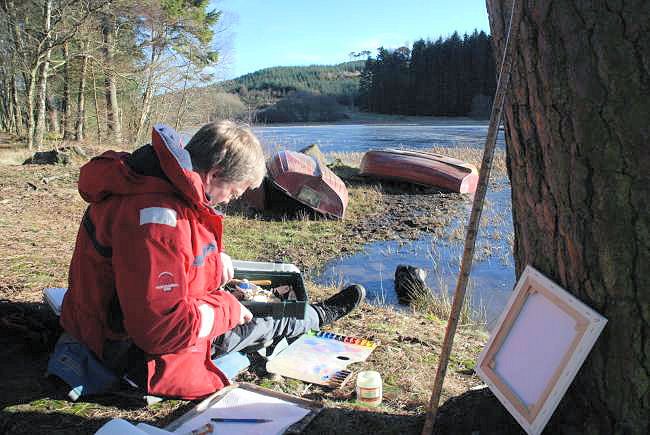 Landscape artists - painting at Lairds Loch,  Angus