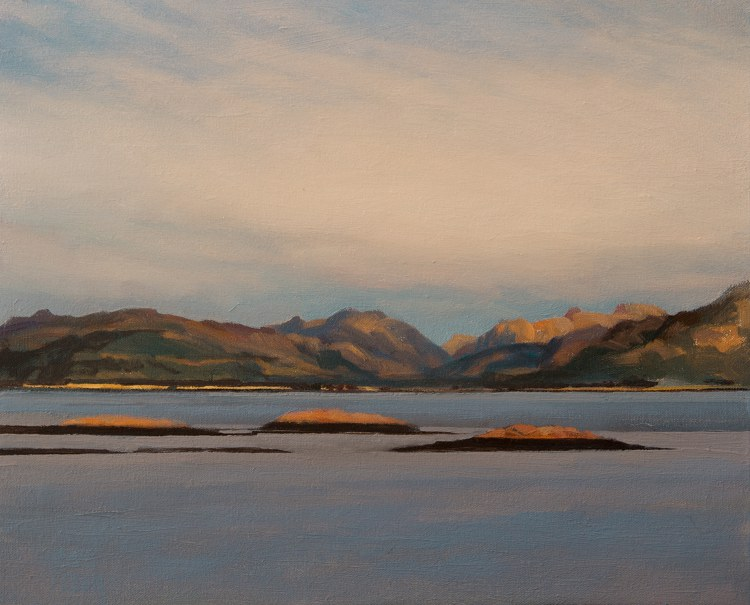 Paintings of mountains - Loch Linnhe. Landscape oil painting on canvas