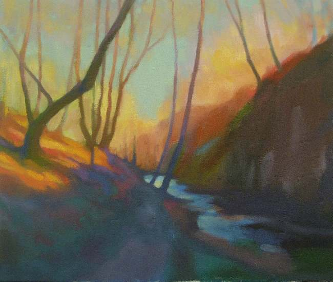 Plein air painting of trees and stream