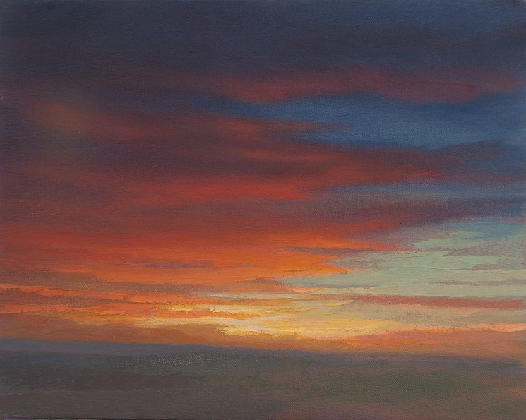 Sunset 3  oil painting of sunset over hills in Fife