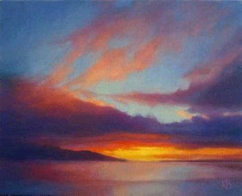 Sunset colours - Light in clouds at Sunset oil sketch