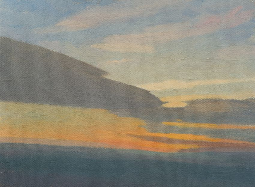 Small oil painting of Sky in evening light - Sky Study 4 . Sky painting