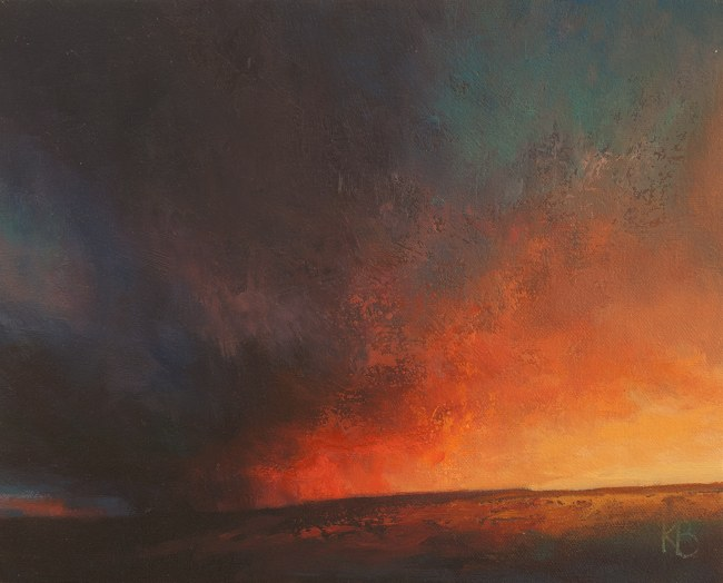 Study for Elemental Sunset  - Oil sketch of Sunset