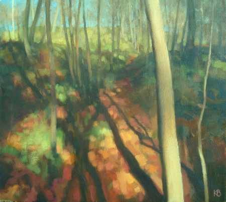 Landscape painting of trees in sunlight