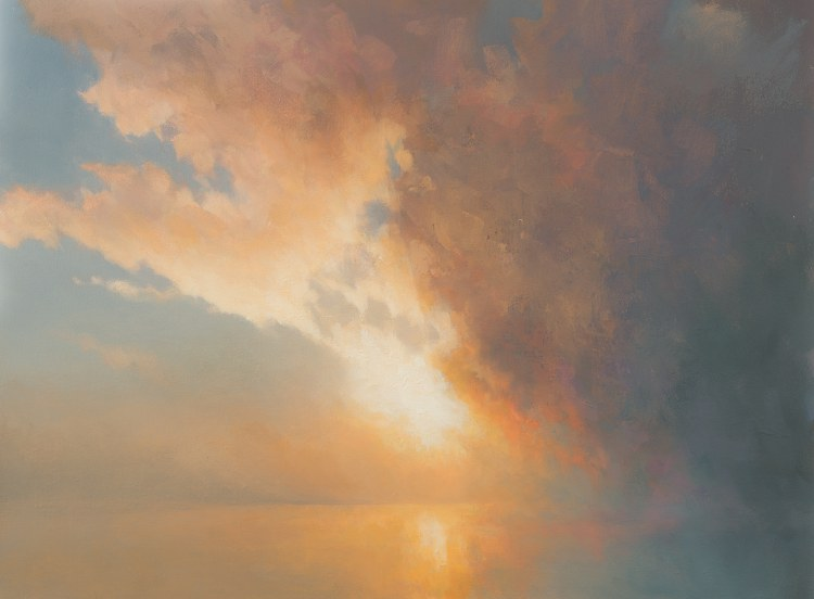 Sunrise Through Mist. Oil painting of sunrise sky and mist
