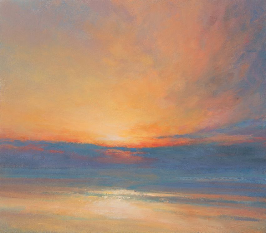 Sunrise from behind Broughty Ferry Castle - Oil Painting of sunrise