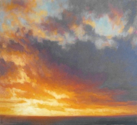 Contemporay Fiery Sunset - Paintings of sunset