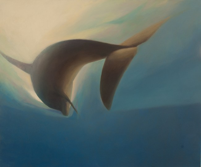 Oil painting of River Tay Dolphin