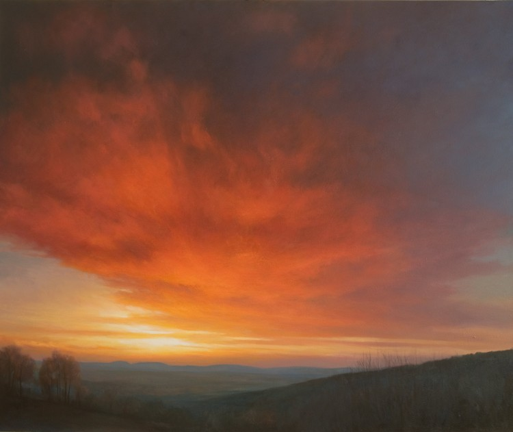 The Malvern Hills - Oil painting of red sunset