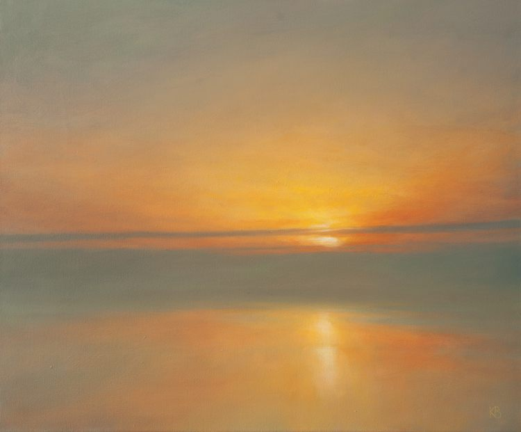 The Wakening. Contemporary landscape painting of dawn  at sea