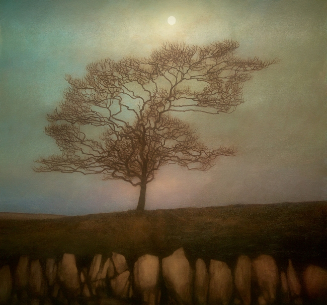 Tree and Moon - painting