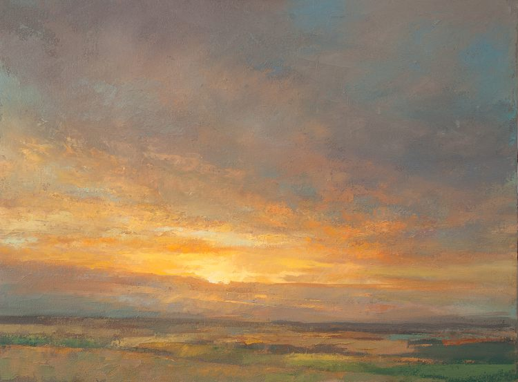 Contemporary landscape art - View of a Sunset  - Oil painting on Canvas