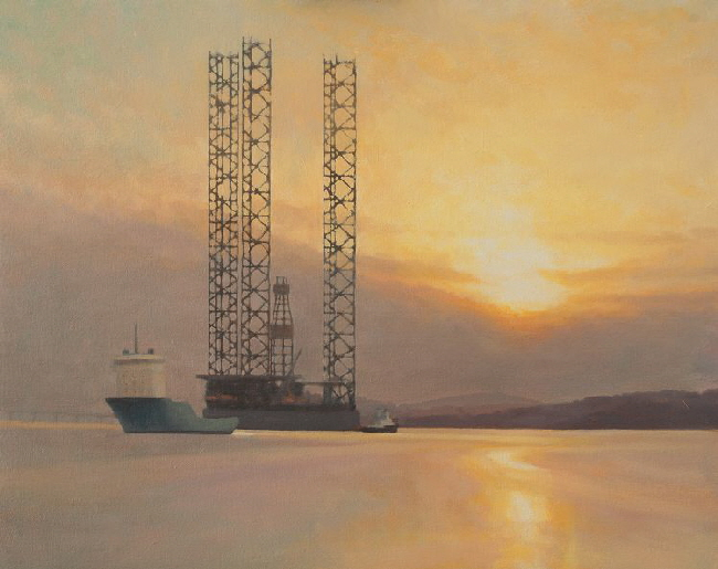 Oil painting commission of oil rig Gorilla 7 in 2011