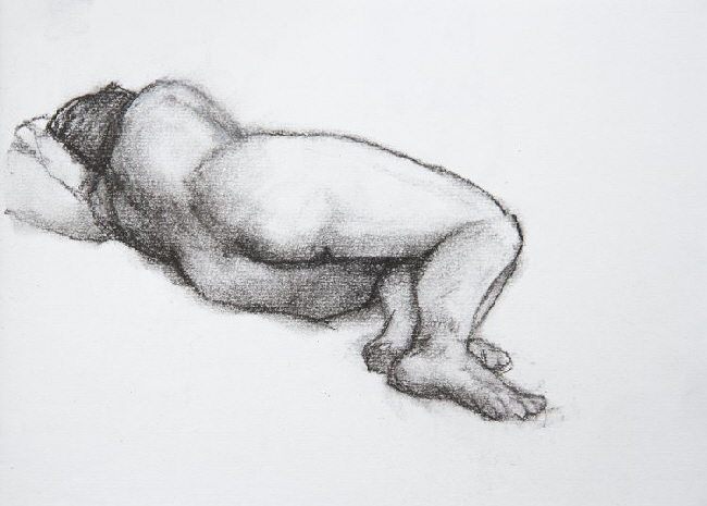 Life drawing charcoal on paper. Figure sleeping
