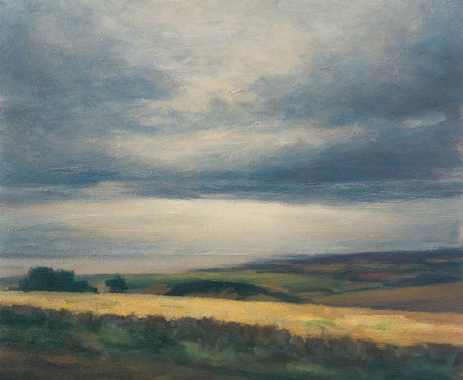 Landscape painting near Logie in Fife with St Andrews and North Sea in distance