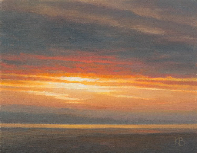 Sunset over the Tay . Oil painting of sunset colours over the Tay