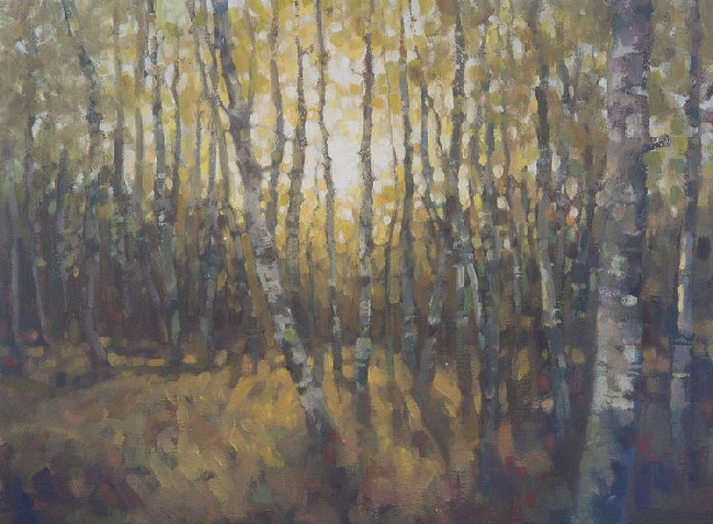 Oil painting of birch trees near Perth