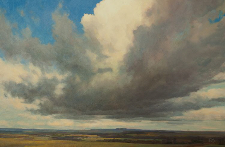 "Cloudscape over landscape. ""Cloudscape""  Cloud and Sky oil painting"
