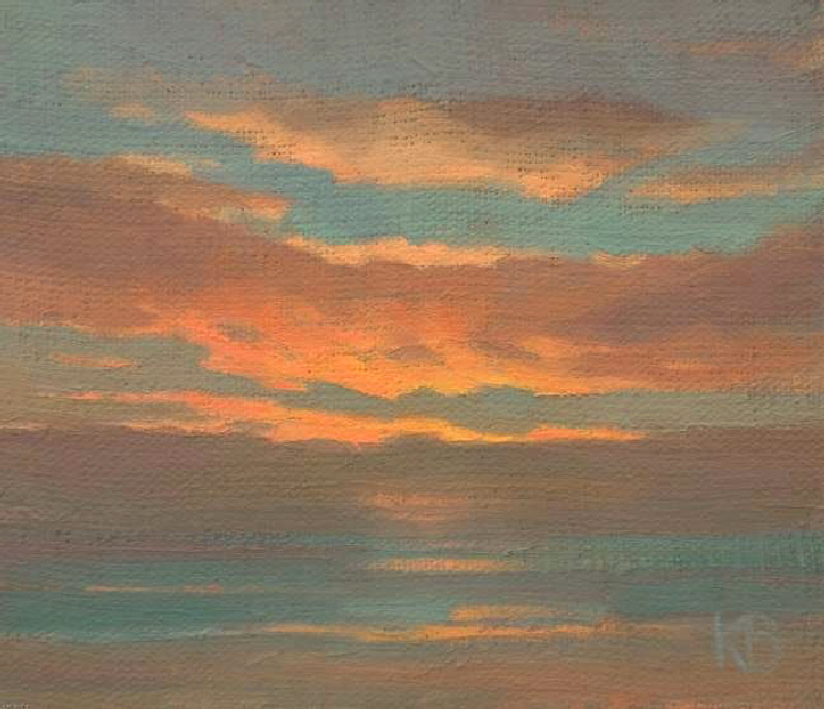 Oil sketch of Sunrise 19th February