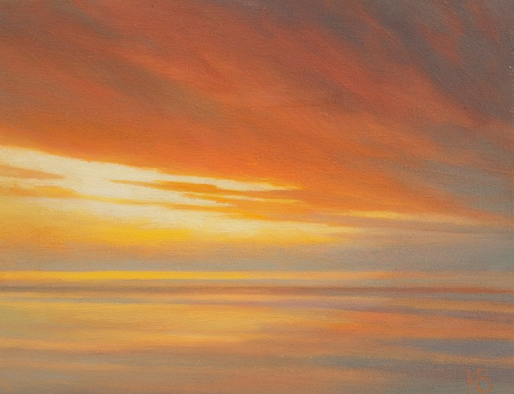 Oil Painting of Dawn from Broughty Ferry Castle